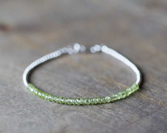 Delicate Peridot Bracelet with Sterling Silver or Gold Filled, Simple Minimal Peridot Jewelry, Stacking Bracelet, August Birthstone