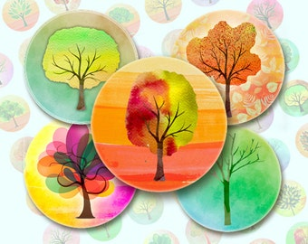 Colourful watercolor trees - 63 1x1 Inch  Circle JPG images - Digital Collage Sheet