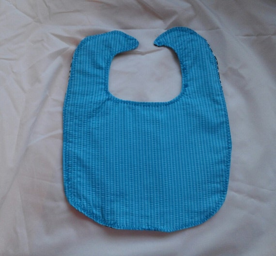 Blue (teal) Seersucker Bib