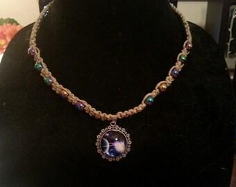 Handmade hemp necklace with galxay pendant
