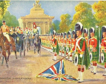 1920s Vintage British Postcard: The Gordon Highlanders a Valentines Postcard
