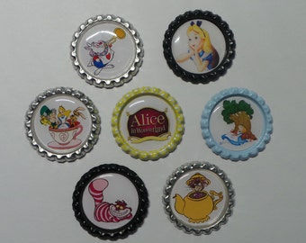 Disney Alice in Wonderland Set of 7 Finished Bottle Caps - Magnets - Necklaces