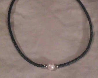 9-10mm white cultured Freshwater pearl Braided black multi-color leather necklace.