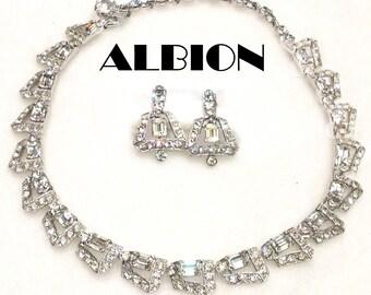 Albion Rhinestone Rhodium Necklace Clip Earrings Set Like Bogoff Vintage