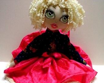 OOAK, Art Doll,ELLIE, cute doll, Original doll, handmade doll, cloth doll, hand painted doll face, art doll, romantic, little girl doll