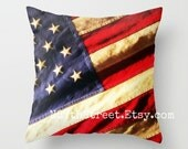 "GOD BLESS AMERICA 16x16"" Pillow Cover. Photo Art. Patriotic. usa. Stars & Stripes. Vintage American Flag. Freedom. Home Decor. July 4th."