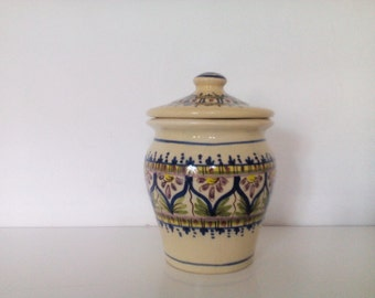 Vintage Spanish Pottery Jar with Lid. Hand-made Ceramic Jar with Lid.