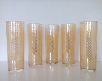 Vintage Tumblers. Set of Five Drinking Glasses. Amber Iridescent Tumblers