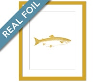 Salmon Art Print - Real Gold Foil Print - Nautical Art - Sea Life Art Print - Cottage Art - Beach House Decor - Fisherman Gift - Fish Art