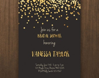 bridal shower invitation, confetti wedding shower, printable invitation, black and gold bridal shower, wedding shower invite, card - br17