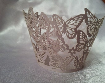Lavender Butterfly Lace Cupcake Wrappers - Set of 12 - Wedding, Engagement, Parties, Events
