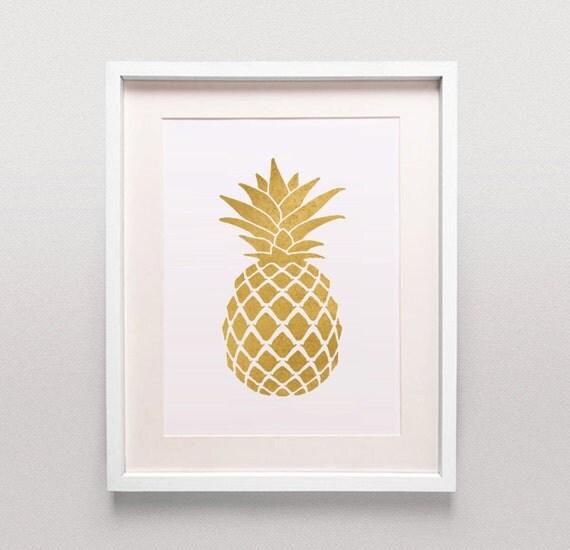 Gold Pineapple Print Gold Pineapple Art Gold By MTandBB