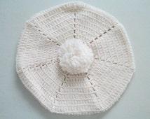1970's Vintage Crochet Hat Retro Ivory Beret Handmade Soft Boho Pom Pom One Size Classic 70's Cap Beanie Hand Knit