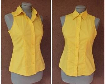 Vintage 90's Benetton Yellow Shirt – Size S / Benetton Yellow Blouse