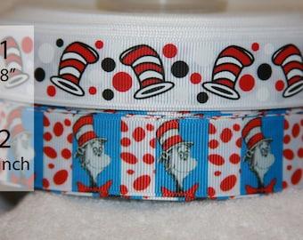 Cat in Hat Dr Seuss inspired grosgrain ribbon R237