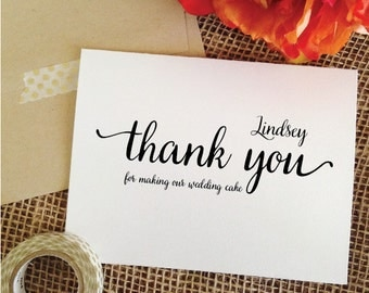 personalized THANK YOU for making our wedding cake thank you cards (Lovely)