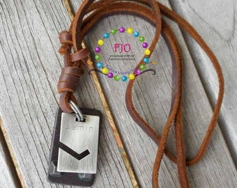 Mens zodiac Necklace Adjustable Leather Necklace Gemini Necklace Bohemian Necklace