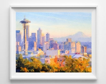 Seattle Art Print, Illustration, Watercolor, Home Decor,Wall Art, Pic no 82