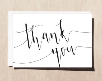 Printable Thank You Card with Envelope Template Wedding Thank You Card Typography Thank You Card Cute Font Card Black and White Card