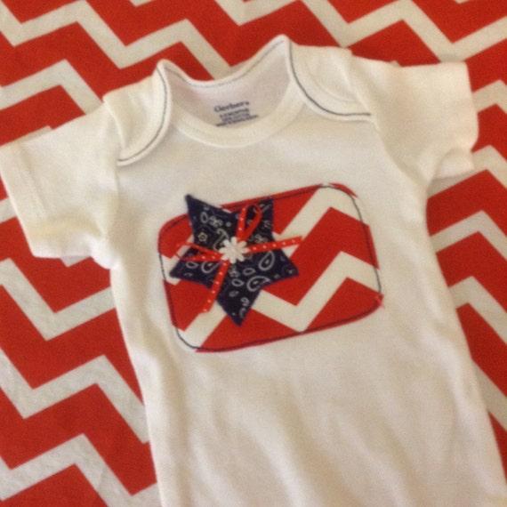 Baby girl USA flag onesie
