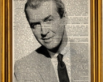 James Stewart print art on 8x10 upcycled dictionary page 8x10
