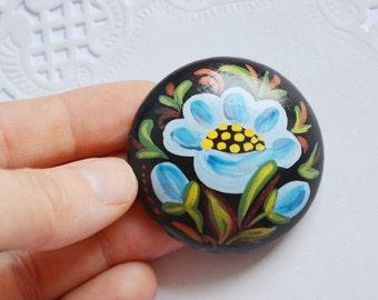 black Blue flower pins handmade Brooch folk style painting pin wooden Jewelry flower Brooch Gift|for|her Blue flower Brooch Flower Jewelry