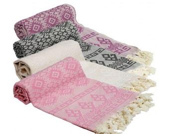 Turkish Kilim Designed Bath & Beach Towel Peshtemal Cream