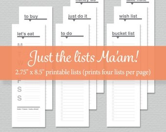 Printable Lists - To-do List, Bucket List, Meal Plan, Notes and more - Digital Download - by Sassy Planners