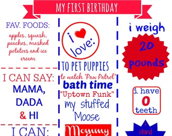 Baby Stat board- digital download! Customized