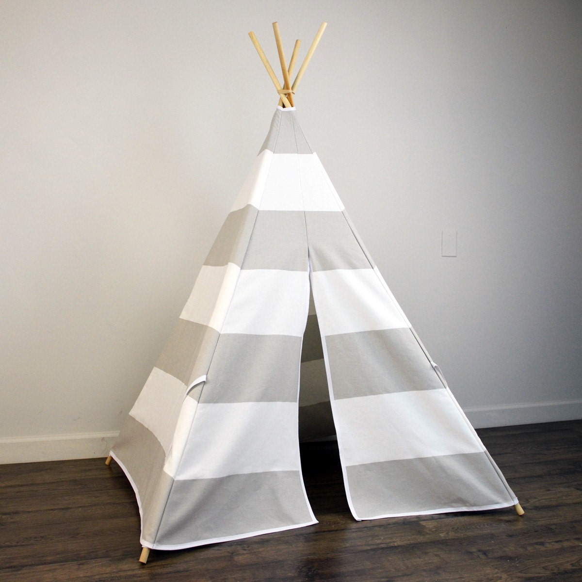 Kids Play Tent Teepee In French Gray And White Large