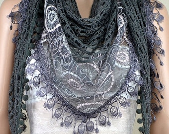 Gray cotton triangle scarf, joining together the scarf of lace, lace fringe scarf, spring autumn decoration scarf, shawl