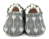 GREY ARROW baby moccasins, LENNON, gray crib shoes, soft sole shoe