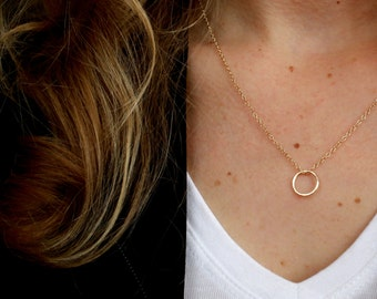 NEW Delicate Gold Circle Necklace on Gold Chain Necklace Gold Circle Necklace Gold Layer Necklace Layering Necklace Everyday Necklace