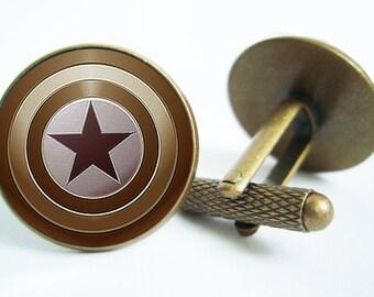 Captain America Shield Cufflinks (silver/bronze)