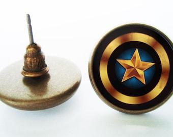 Captain America Earrings (Silver/Bronze)