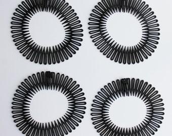 Black Flex spider hair headband comb teeth accordion spring coil stretch head band Set of 4