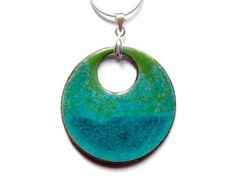 boho round necklace hippie style ceramic pendant, colourfull jewelry - blue turqouise green, amazig glaze effect, gift idea for her