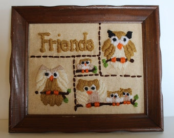 Embroidered Wall Hanging, Wall Art, Framed Picture
