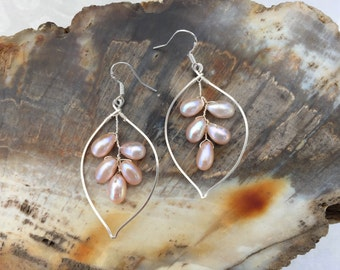 Pink Champagne Pearl Earrings Sterling Silver