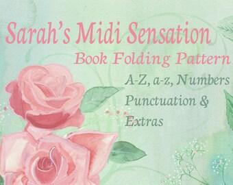 Sarah's Midi Sensation Alphabet - Make any name date or word Plus extras - Book folding Pattern PDF