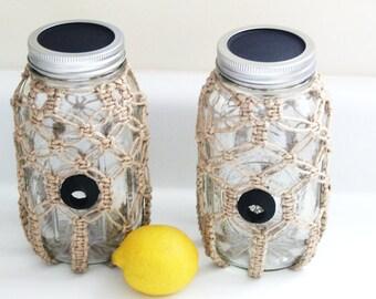 Kitchen storage. Mason jar. Macramé covered Mason jar. Storage jar. Kitchen décor.