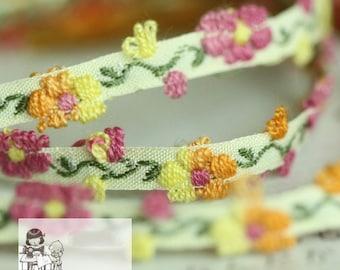 Ribbon Flower Trim 7mm width for Headbands, Bridal, Straps, Crafting, Embroidered trim MM007