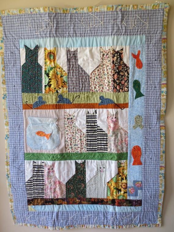 Quilt handmade cat quilt lap quilt baby floor quilt for Floor quilt for babies