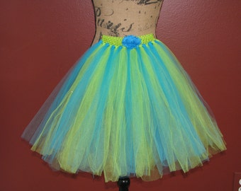Cute Blue and Green Spring like Tutu Skirt