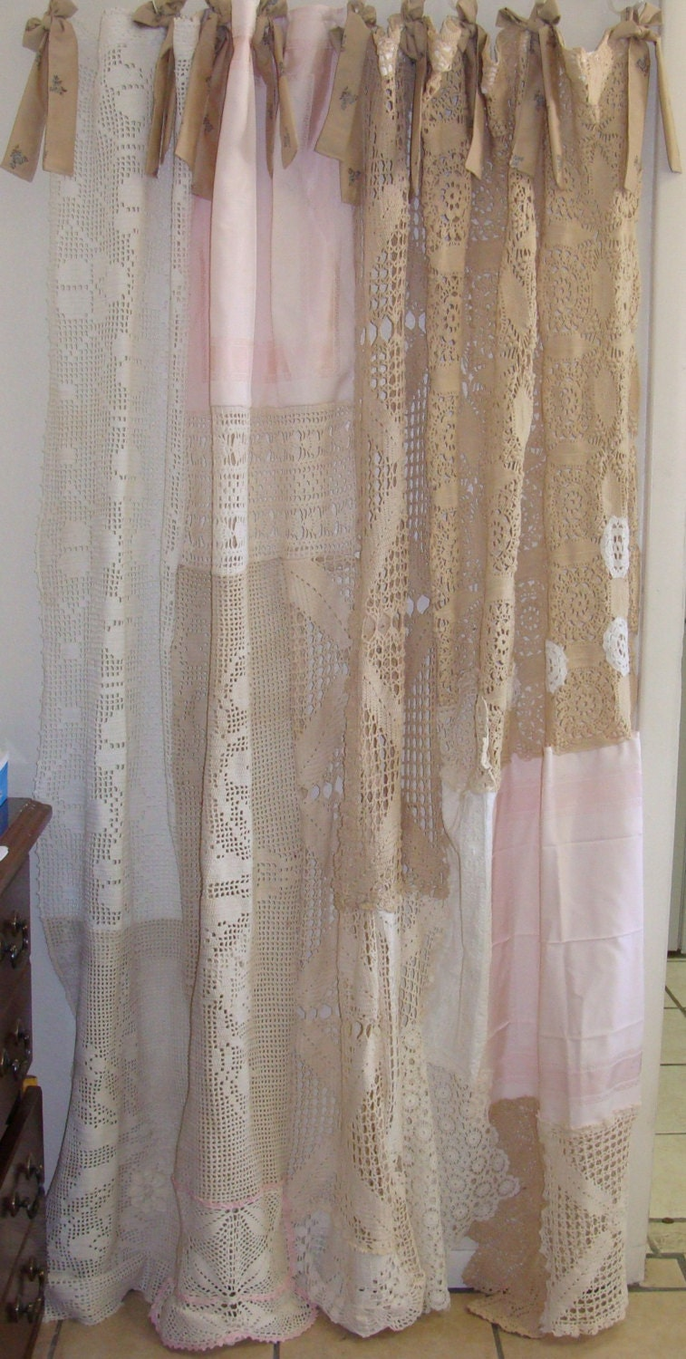 Shabby Chic Shower Curtain Vintage Crochet Vintage Linen