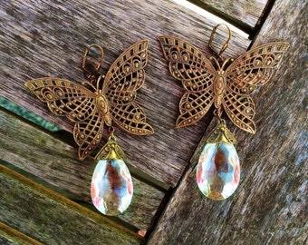 1920s Bohemian Art Nouveau Brass Filigree Butterfly and Czech Glass Drop Earrings