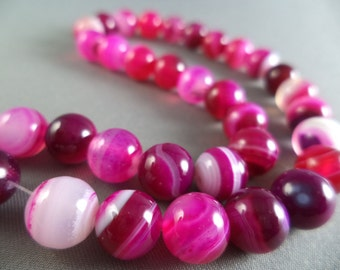 Multi Pink Agate Beads - 8mm - 14 1/2 Inch Strand