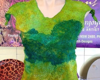 Lime green lace embellished front, hand dyed top. With cap sleeves. Size Medium (Aust 12-14).