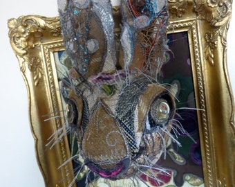 Here Hare Here - Embroidered Faux Taxidermy in Gold Frame