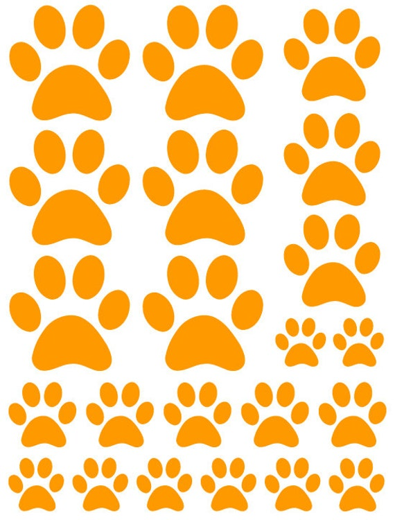 44 Orange Paw Prints Vinyl Wall Decals Stickers Bedroom Teen Kids Baby Dorm Room Cat Dog Pet Removable Custom Easy to Install Wall Art